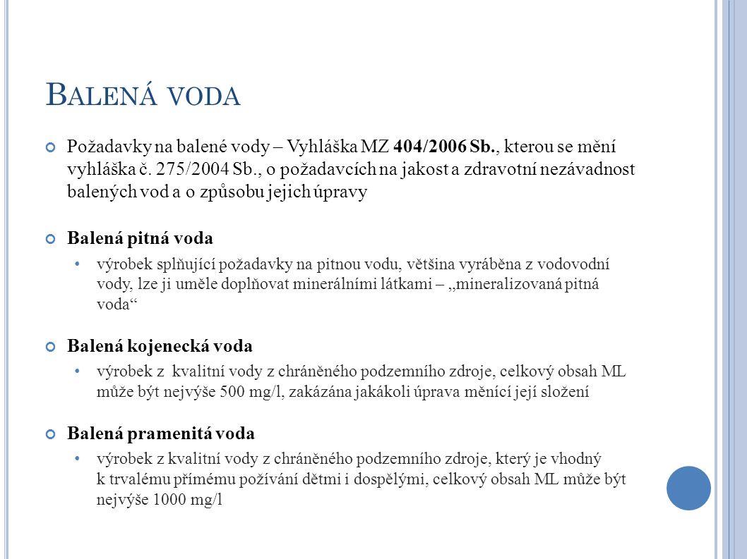 B ALENÁ VODA Požadavky na balené vody – Vyhláška MZ 404/2006 Sb., kterou se mění vyhláška č. 275/2004 Sb., o požadavcích na jakost a zdravotní nezávad