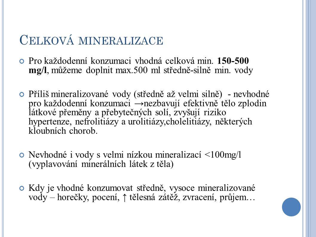 C ELKOVÁ MINERALIZACE Pro každodenní konzumaci vhodná celková min. 150-500 mg/l, můžeme doplnit max.500 ml středně-silně min. vody Příliš mineralizova