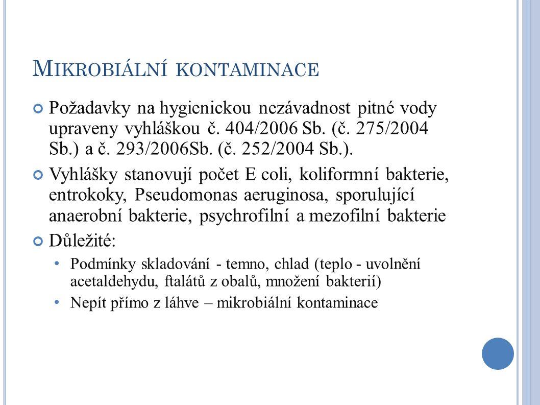 M IKROBIÁLNÍ KONTAMINACE Požadavky na hygienickou nezávadnost pitné vody upraveny vyhláškou č. 404/2006 Sb. (č. 275/2004 Sb.) a č. 293/2006Sb. (č. 252
