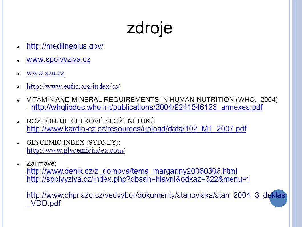 zdroje http://medlineplus.gov/ www.spolvyziva.cz www.szu.cz http://www.eufic.org/index/cs/ VITAMIN AND MINERAL REQUIREMENTS IN HUMAN NUTRITION (WHO, 2