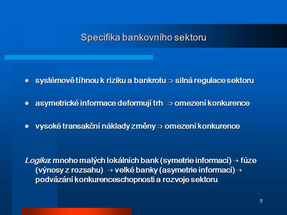 5 Specifika bankovního sektoru systémově tíhnou k riziku a bankrotu ⇒ silná regulace sektoru systémově tíhnou k riziku a bankrotu ⇒ silná regulace sek