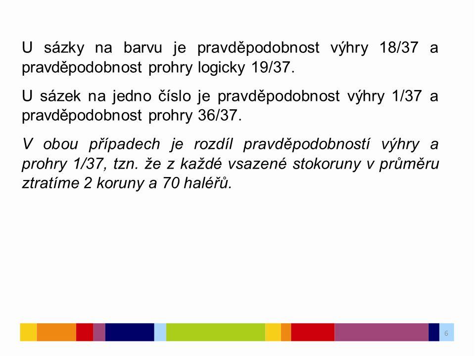 6 6 U sázky na barvu je pravděpodobnost výhry 18/37 a pravděpodobnost prohry logicky 19/37. U sázek na jedno číslo je pravděpodobnost výhry 1/37 a pra