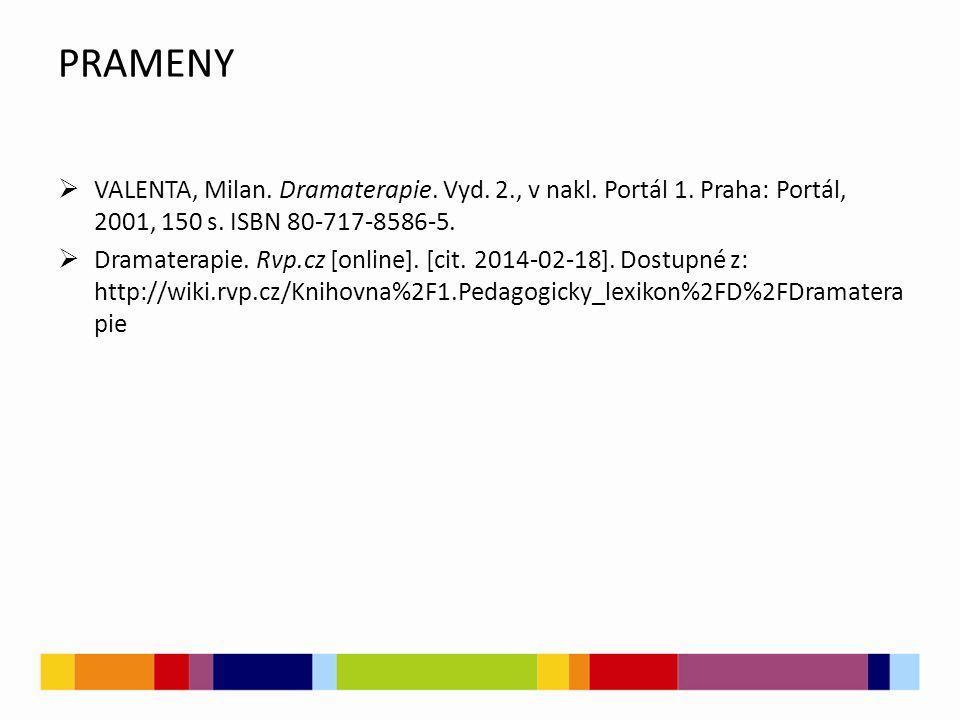 PRAMENY  VALENTA, Milan. Dramaterapie. Vyd. 2., v nakl. Portál 1. Praha: Portál, 2001, 150 s. ISBN 80-717-8586-5.  Dramaterapie. Rvp.cz [online]. [c