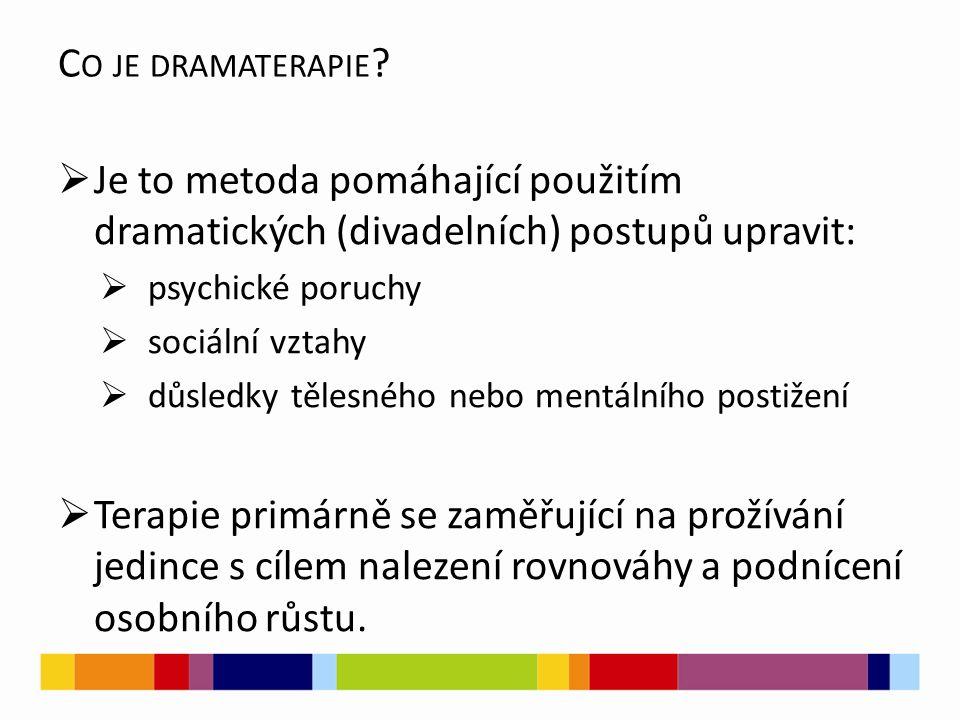 C O JE DRAMATERAPIE ?  Je to metoda pomáhající použitím dramatických (divadelních) postupů upravit:  psychické poruchy  sociální vztahy  důsledky