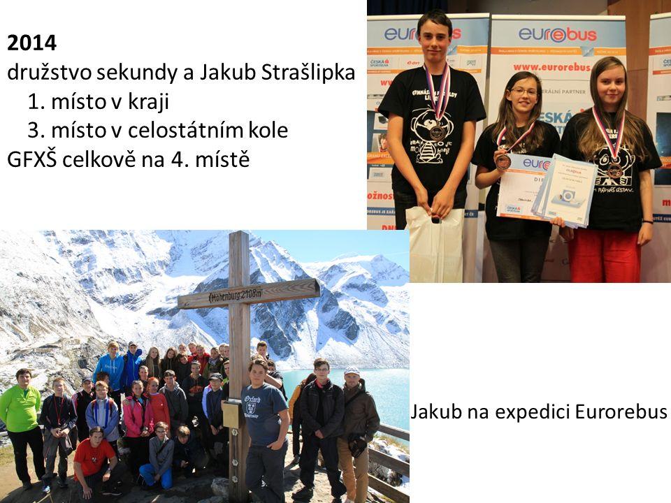 2014 družstvo sekundy a Jakub Strašlipka 1. místo v kraji 3. místo v celostátním kole GFXŠ celkově na 4. místě Jakub na expedici Eurorebus