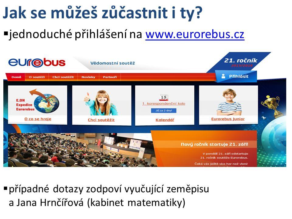 Jak se můžeš zůčastnit i ty?  jednoduché přihlášení na www.eurorebus.czwww.eurorebus.cz  případné dotazy zodpoví vyučující zeměpisu a Jana Hrnčířová