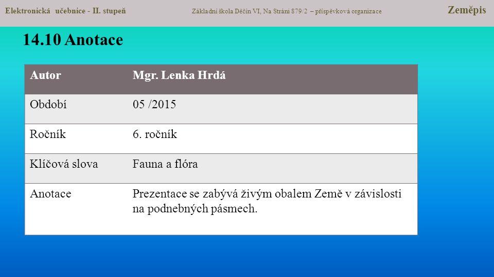 AutorMgr.Lenka Hrdá Období05 /2015 Ročník6.