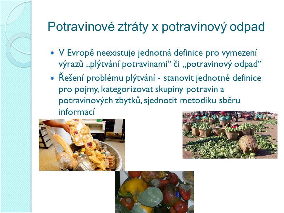 """Potravinové ztráty x potravinový odpad V Evropě neexistuje jednotná definice pro vymezení výrazů """"plýtvání potravinami či """"potravinový odpad Řešení problému plýtvání - stanovit jednotné definice pro pojmy, kategorizovat skupiny potravin a potravinových zbytků, sjednotit metodiku sběru informací"""