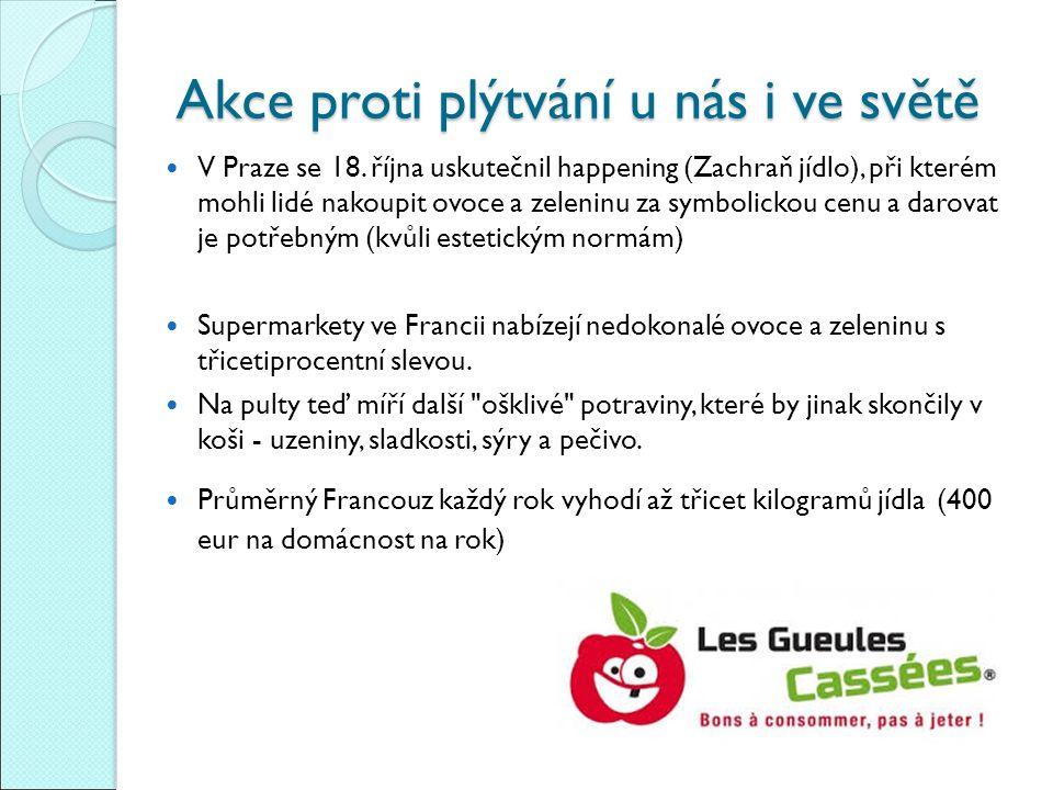 Akce proti plýtvání u nás i ve světě V Praze se 18. října uskutečnil happening (Zachraň jídlo), při kterém mohli lidé nakoupit ovoce a zeleninu za sym