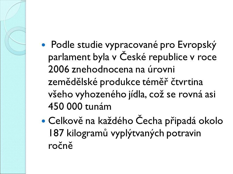 Podle studie vypracované pro Evropský parlament byla v České republice v roce 2006 znehodnocena na úrovni zemědělské produkce téměř čtvrtina všeho vyhozeného jídla, což se rovná asi 450 000 tunám Celkově na každého Čecha připadá okolo 187 kilogramů vyplýtvaných potravin ročně