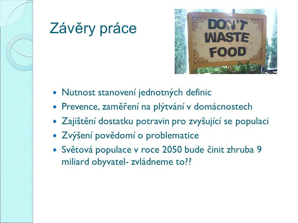 Závěry práce Nutnost stanovení jednotných definic Prevence, zaměření na plýtvání v domácnostech Zajištění dostatku potravin pro zvyšující se populaci