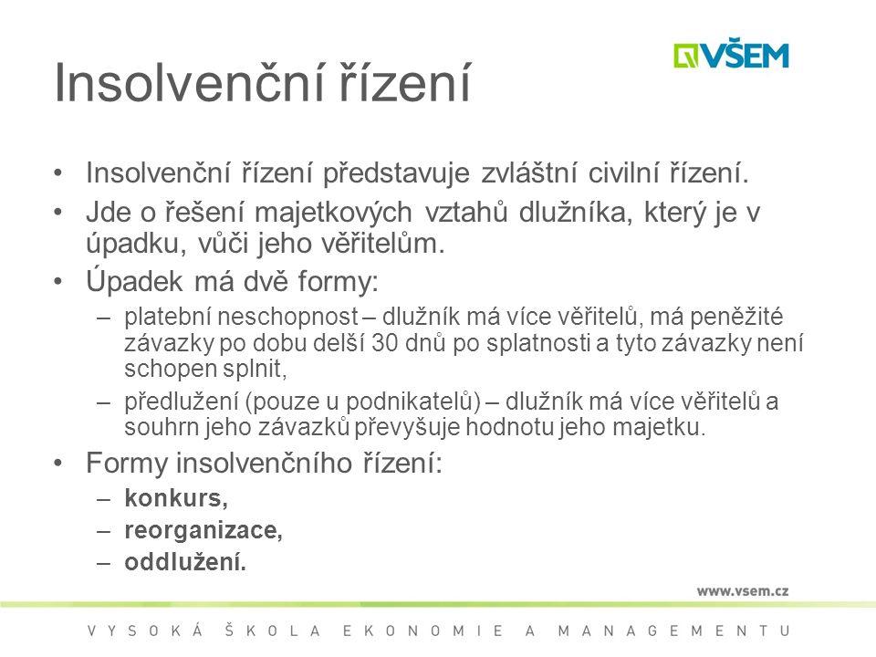 Insolvenční řízení Insolvenční řízení představuje zvláštní civilní řízení. Jde o řešení majetkových vztahů dlužníka, který je v úpadku, vůči jeho věři