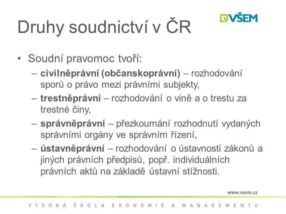 Druhy soudnictví v ČR Soudní pravomoc tvoří: –civilněprávní (občanskoprávní) – rozhodování sporů o právo mezi právními subjekty, –trestněprávní – rozh