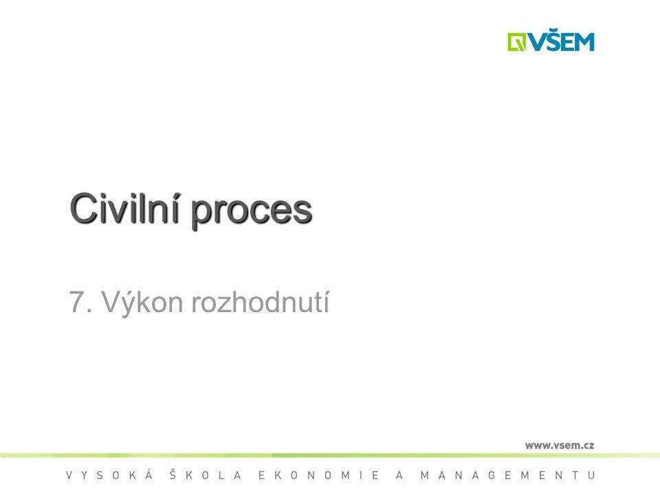 Civilní proces 7. Výkon rozhodnutí