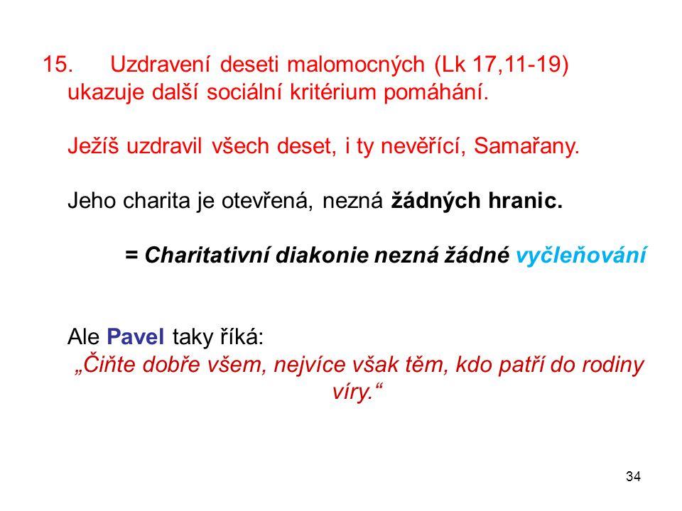 15.Uzdravení deseti malomocných (Lk 17,11-19) ukazuje další sociální kritérium pomáhání.