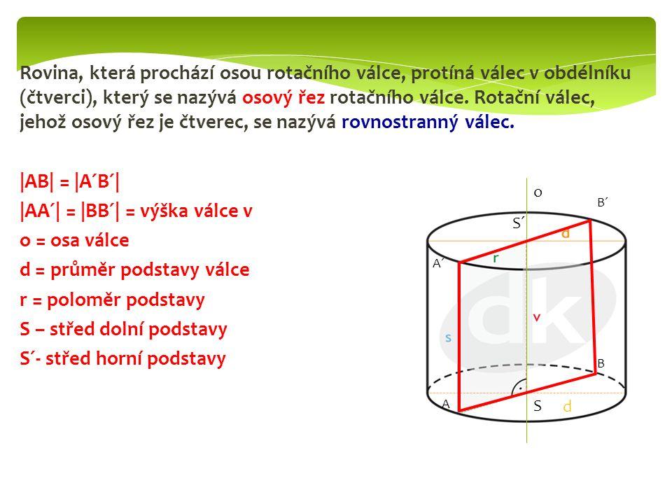 Rovina, která prochází osou rotačního válce, protíná válec v obdélníku (čtverci), který se nazývá osový řez rotačního válce. Rotační válec, jehož osov