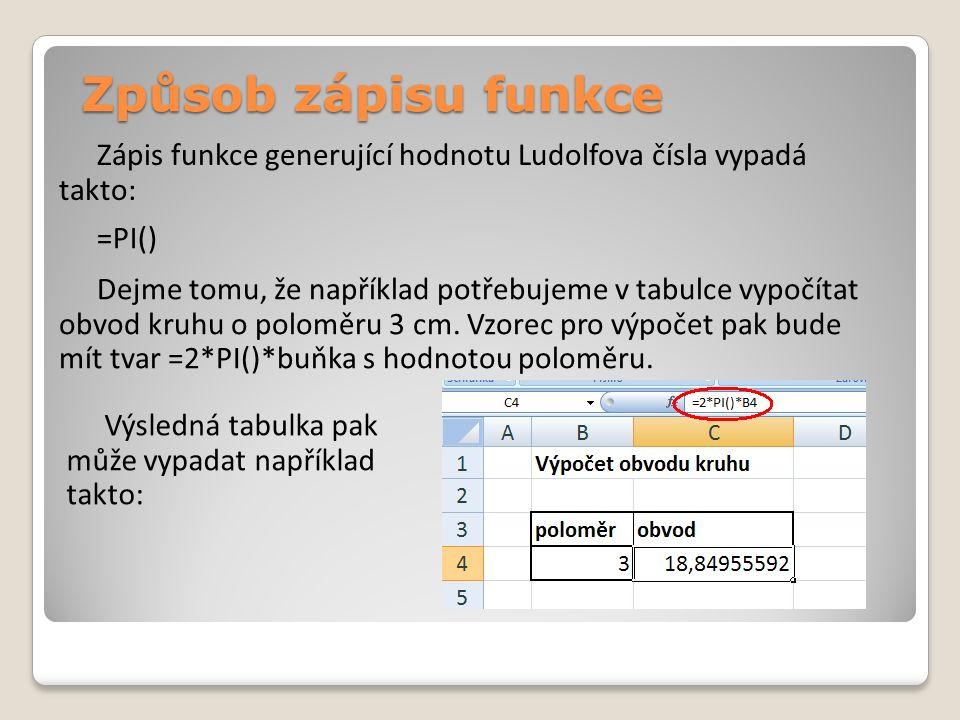 Způsob zápisu funkce Zápis funkce generující hodnotu Ludolfova čísla vypadá takto: =PI() Dejme tomu, že například potřebujeme v tabulce vypočítat obvod kruhu o poloměru 3 cm.