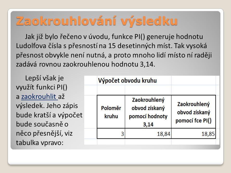 Zaokrouhlování výsledku Jak již bylo řečeno v úvodu, funkce PI() generuje hodnotu Ludolfova čísla s přesností na 15 desetinných míst. Tak vysoká přesn
