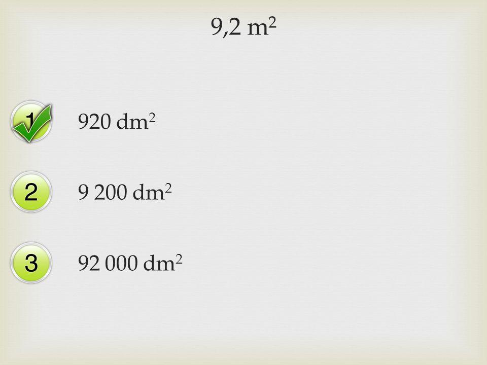 9,2 m 2 920 dm 2 9 200 dm 2 92 000 dm 2