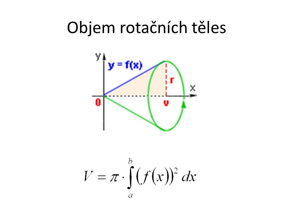 Vypočítejte objem tělesa, které vznikne rotací plochy ohraničené křivkami kolem osy x: 1) y = 2x+2 v 2) Odvoďte vzorec pro výpočet objemu válce o výšce v a poloměru r.