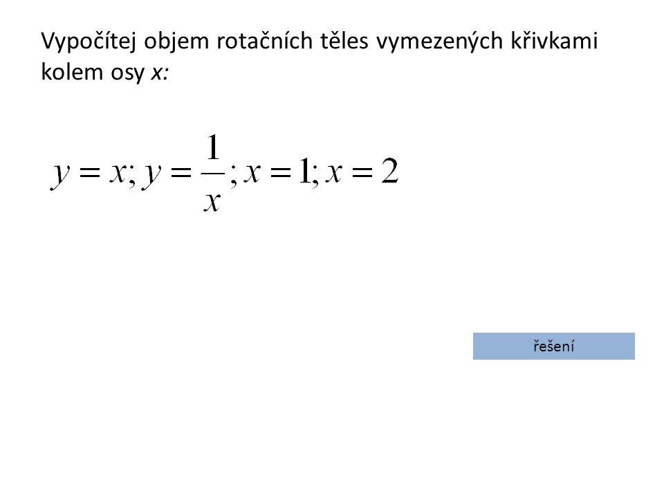 Vypočítej objem rotačních těles vymezených křivkami kolem osy x: řešení