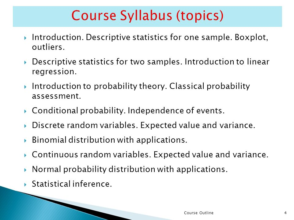 4  Introduction.Descriptive statistics for one sample.
