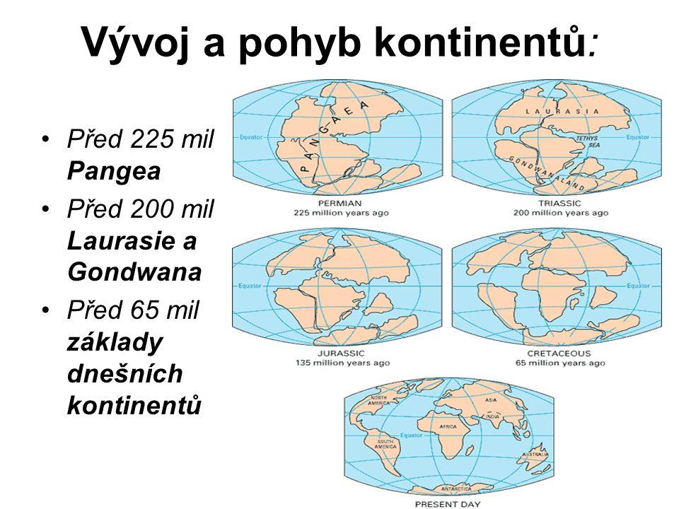 Vývoj a pohyb kontinentů: Před 225 mil Pangea Před 200 mil Laurasie a Gondwana Před 65 mil základy dnešních kontinentů