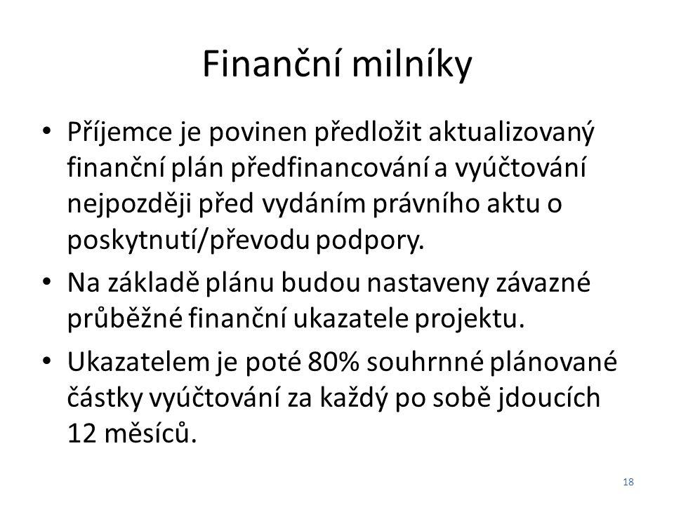 Finanční milníky Příjemce je povinen předložit aktualizovaný finanční plán předfinancování a vyúčtování nejpozději před vydáním právního aktu o poskytnutí/převodu podpory.