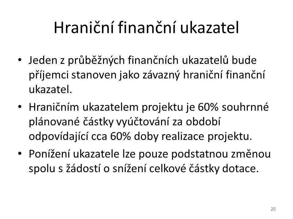 Hraniční finanční ukazatel Jeden z průběžných finančních ukazatelů bude příjemci stanoven jako závazný hraniční finanční ukazatel.