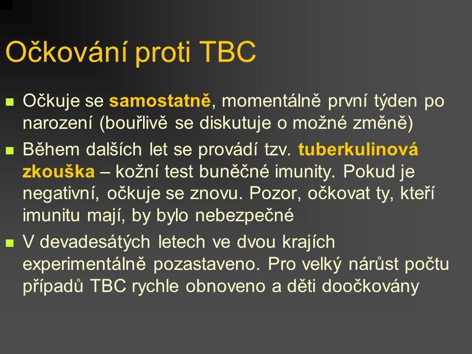 Očkování proti TBC Očkuje se samostatně, momentálně první týden po narození (bouřlivě se diskutuje o možné změně) Během dalších let se provádí tzv. tu