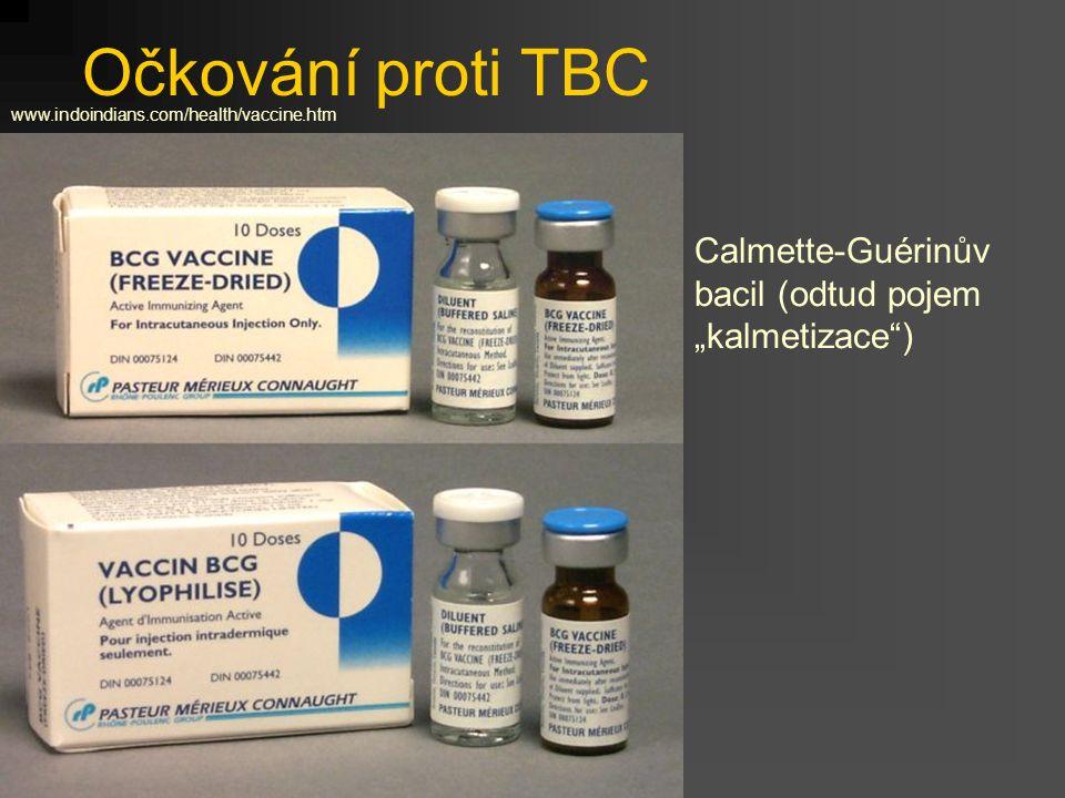"""Očkování proti TBC Calmette-Guérinův bacil (odtud pojem """"kalmetizace"""") www.indoindians.com/health/vaccine.htm"""