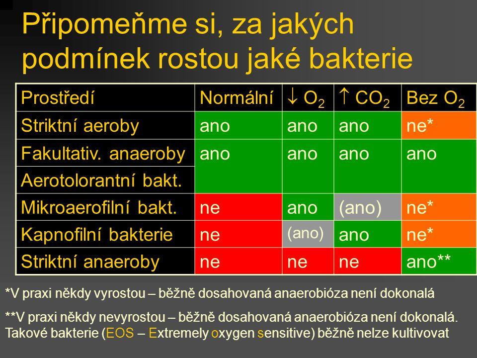 Připomeňme si, za jakých podmínek rostou jaké bakterie ProstředíNormální  O2 O2  CO 2 Bez O 2 Striktní aerobyano ne* Fakultativ. anaerobyano Aeroto