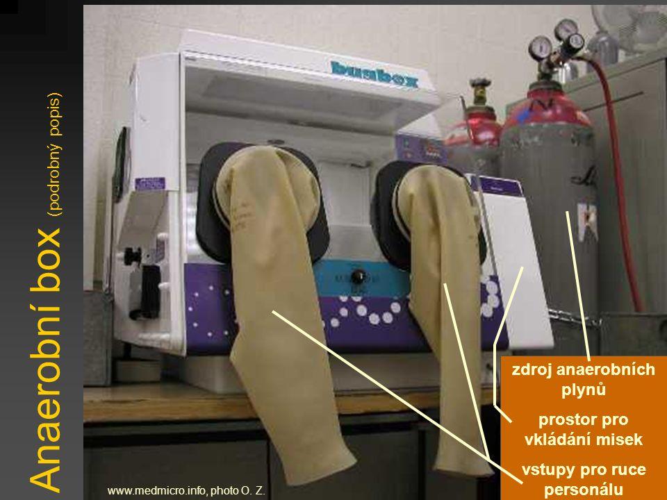 Anaerobní box (podrobný popis) www.medmicro.info, photo O. Z. zdroj anaerobních plynů prostor pro vkládání misek vstupy pro ruce personálu