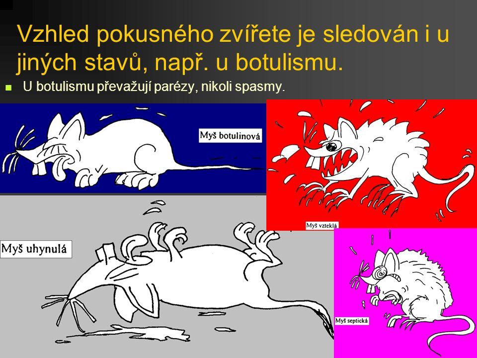 Vzhled pokusného zvířete je sledován i u jiných stavů, např. u botulismu. U botulismu převažují parézy, nikoli spasmy.