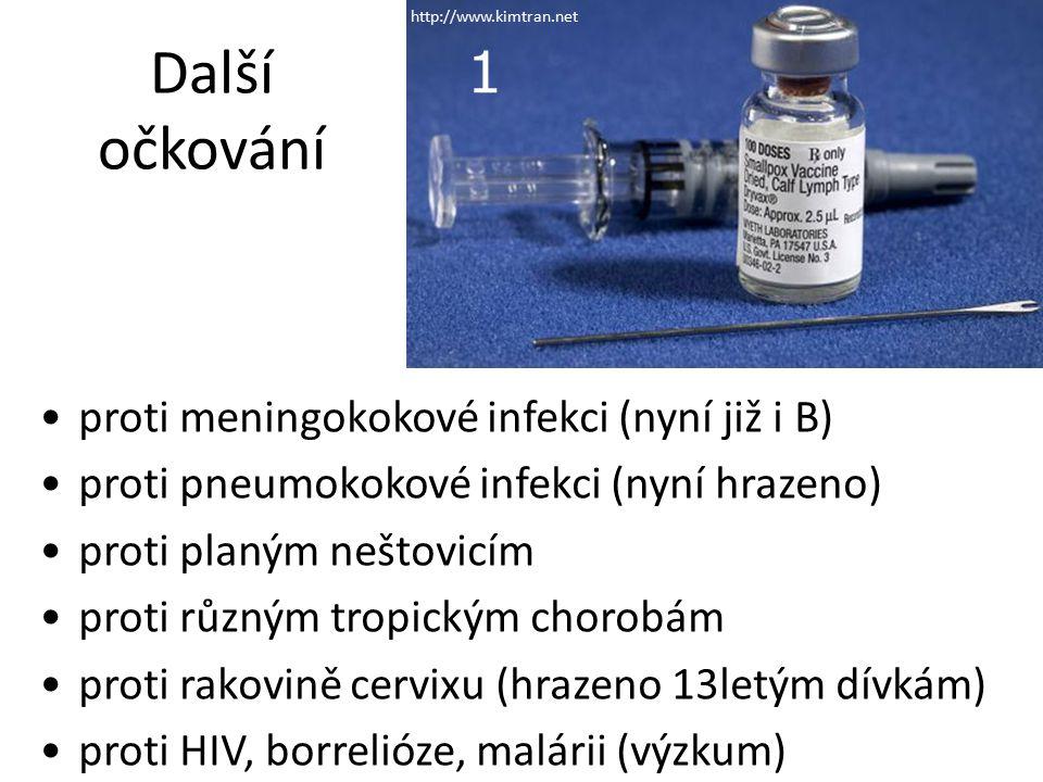 Další očkování proti meningokokové infekci (nyní již i B) proti pneumokokové infekci (nyní hrazeno) proti planým neštovicím proti různým tropickým chorobám proti rakovině cervixu (hrazeno 13letým dívkám) proti HIV, borrelióze, malárii (výzkum) 1 http://www.kimtran.net