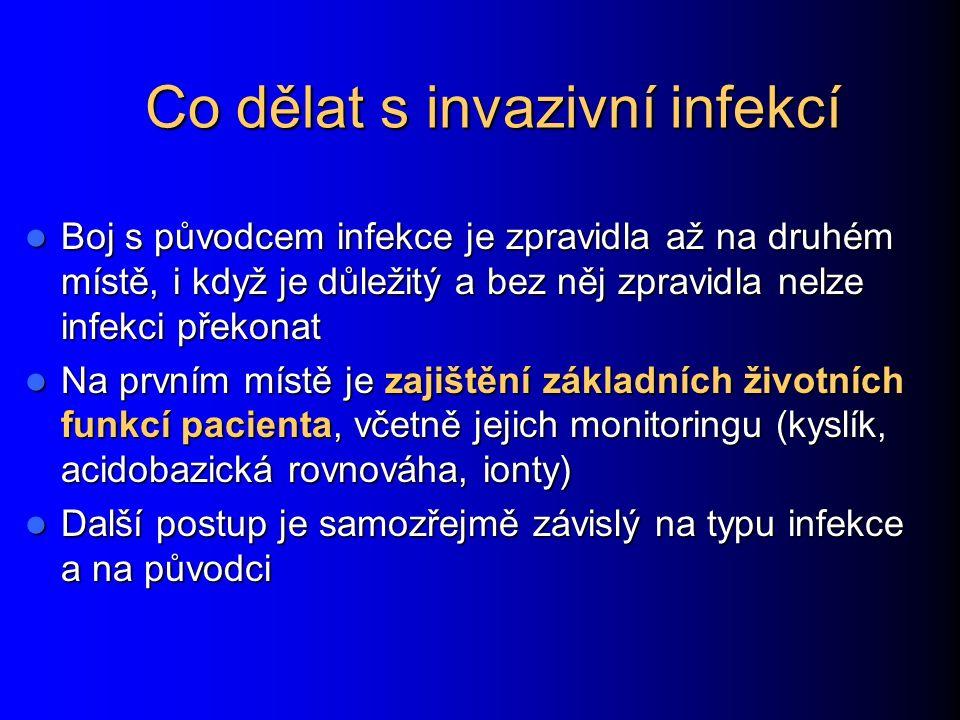 Co dělat s invazivní infekcí Boj s původcem infekce je zpravidla až na druhém místě, i když je důležitý a bez něj zpravidla nelze infekci překonat Boj s původcem infekce je zpravidla až na druhém místě, i když je důležitý a bez něj zpravidla nelze infekci překonat Na prvním místě je zajištění základních životních funkcí pacienta, včetně jejich monitoringu (kyslík, acidobazická rovnováha, ionty) Na prvním místě je zajištění základních životních funkcí pacienta, včetně jejich monitoringu (kyslík, acidobazická rovnováha, ionty) Další postup je samozřejmě závislý na typu infekce a na původci Další postup je samozřejmě závislý na typu infekce a na původci