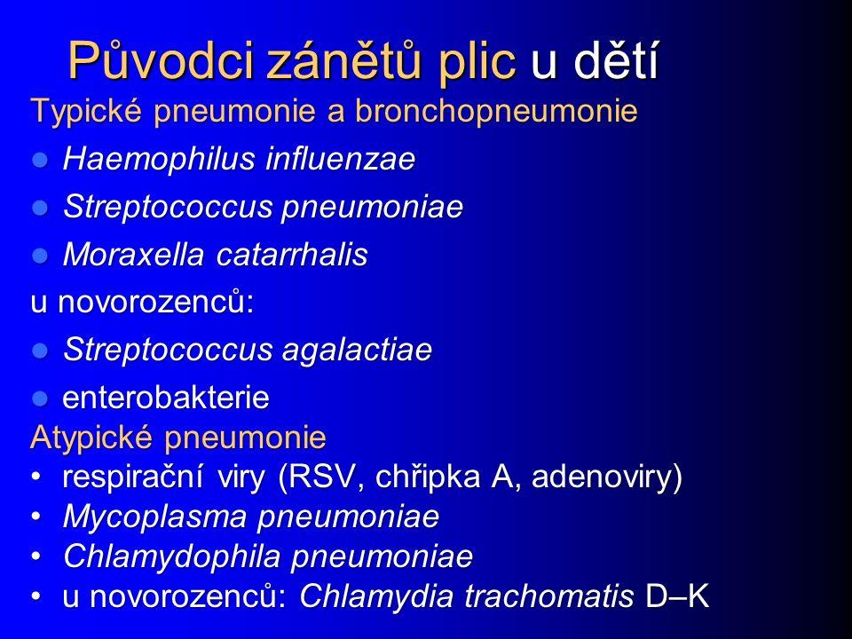 Původci zánětů plic u dětí Původci zánětů plic u dětí Typické pneumonie a bronchopneumonie Haemophilus influenzae Haemophilus influenzae Streptococcus pneumoniae Streptococcus pneumoniae Moraxella catarrhalis Moraxella catarrhalis u novorozenců: Streptococcus agalactiae Streptococcus agalactiae enterobakterie enterobakterie Atypické pneumonie respirační viry (RSV, chřipka A, adenoviry)respirační viry (RSV, chřipka A, adenoviry) Mycoplasma pneumoniaeMycoplasma pneumoniae Chlamydophila pneumoniaeChlamydophila pneumoniae u novorozenců: Chlamydia trachomatis D–Ku novorozenců: Chlamydia trachomatis D–K