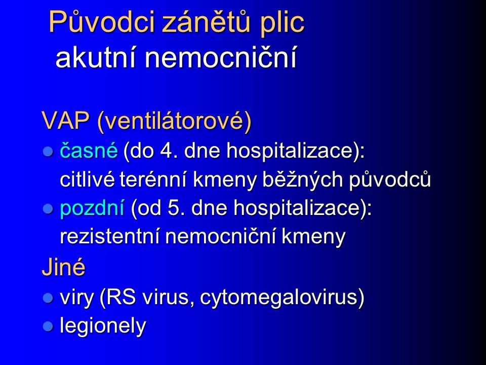 Původci zánětů plic akutní nemocniční VAP (ventilátorové) časné (do 4.