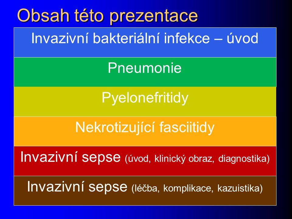 Obsah této prezentace Invazivní bakteriální infekce – úvod Pneumonie Pyelonefritidy Nekrotizující fasciitidy Invazivní sepse (úvod, klinický obraz, diagnostika) Invazivní sepse (léčba, komplikace, kazuistika)
