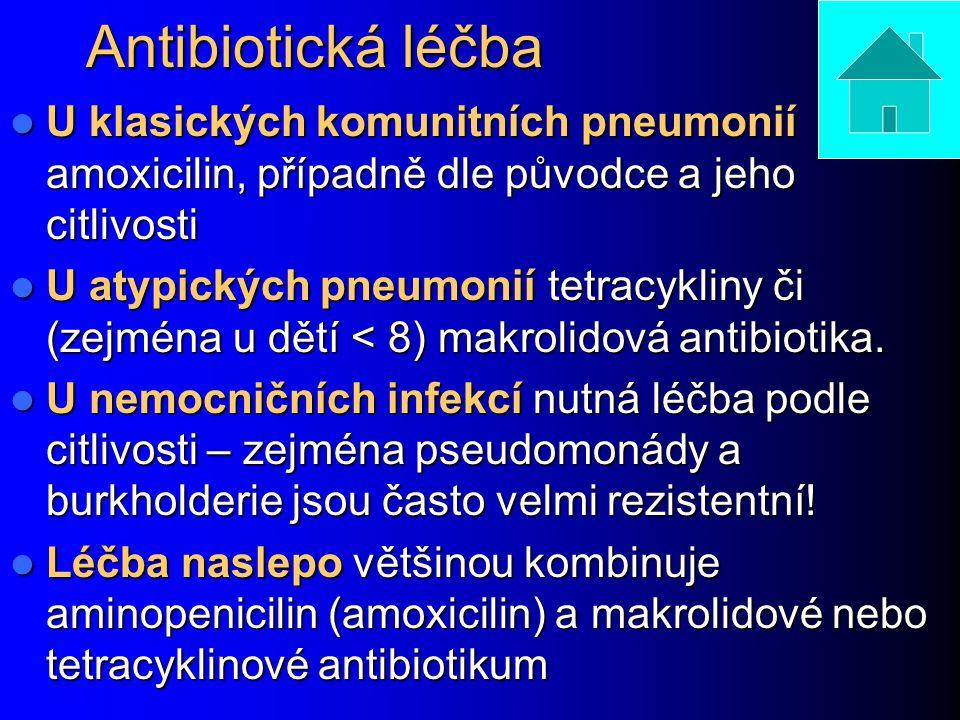 Antibiotická léčba U klasických komunitních pneumonií amoxicilin, případně dle původce a jeho citlivosti U klasických komunitních pneumonií amoxicilin, případně dle původce a jeho citlivosti U atypických pneumonií tetracykliny či (zejména u dětí < 8) makrolidová antibiotika.