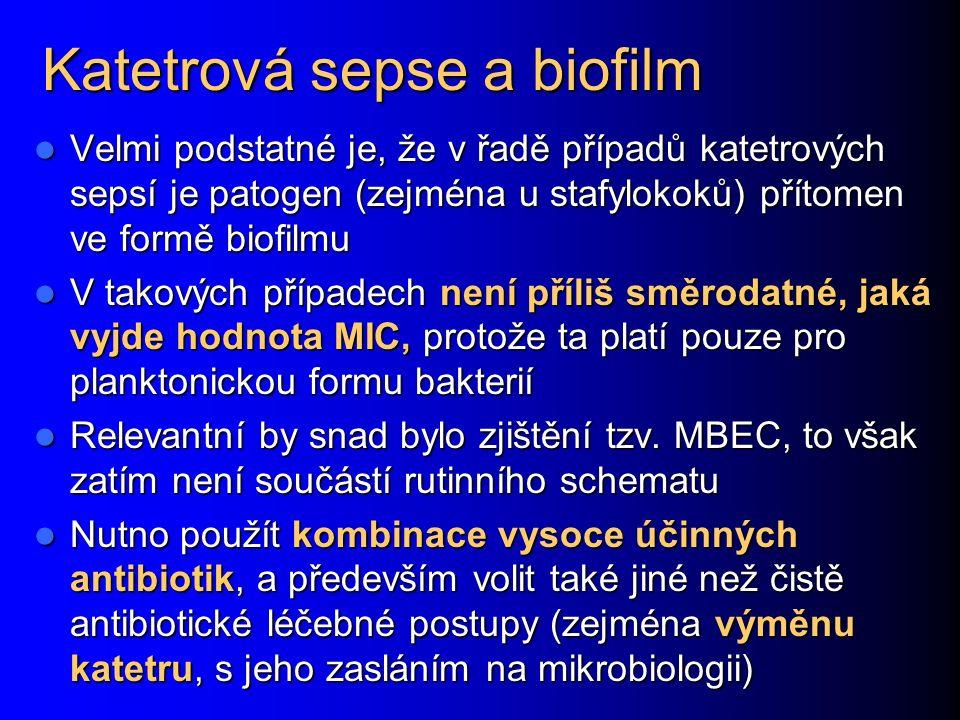 Katetrová sepse a biofilm Velmi podstatné je, že v řadě případů katetrových sepsí je patogen (zejména u stafylokoků) přítomen ve formě biofilmu Velmi podstatné je, že v řadě případů katetrových sepsí je patogen (zejména u stafylokoků) přítomen ve formě biofilmu V takových případech není příliš směrodatné, jaká vyjde hodnota MIC, protože ta platí pouze pro planktonickou formu bakterií V takových případech není příliš směrodatné, jaká vyjde hodnota MIC, protože ta platí pouze pro planktonickou formu bakterií Relevantní by snad bylo zjištění tzv.