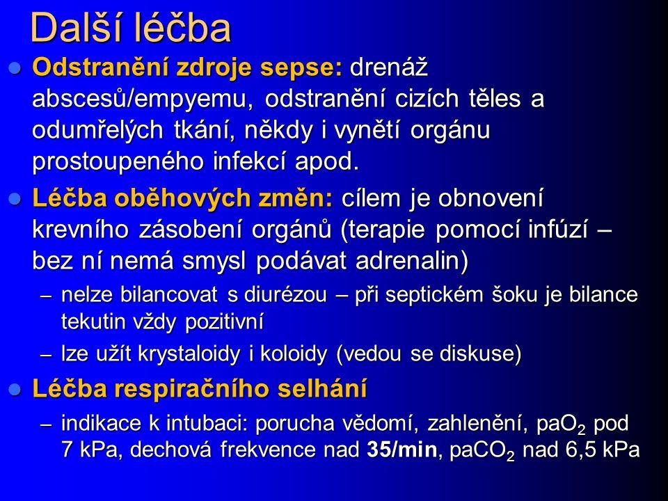 Další léčba Odstranění zdroje sepse: drenáž abscesů/empyemu, odstranění cizích těles a odumřelých tkání, někdy i vynětí orgánu prostoupeného infekcí apod.