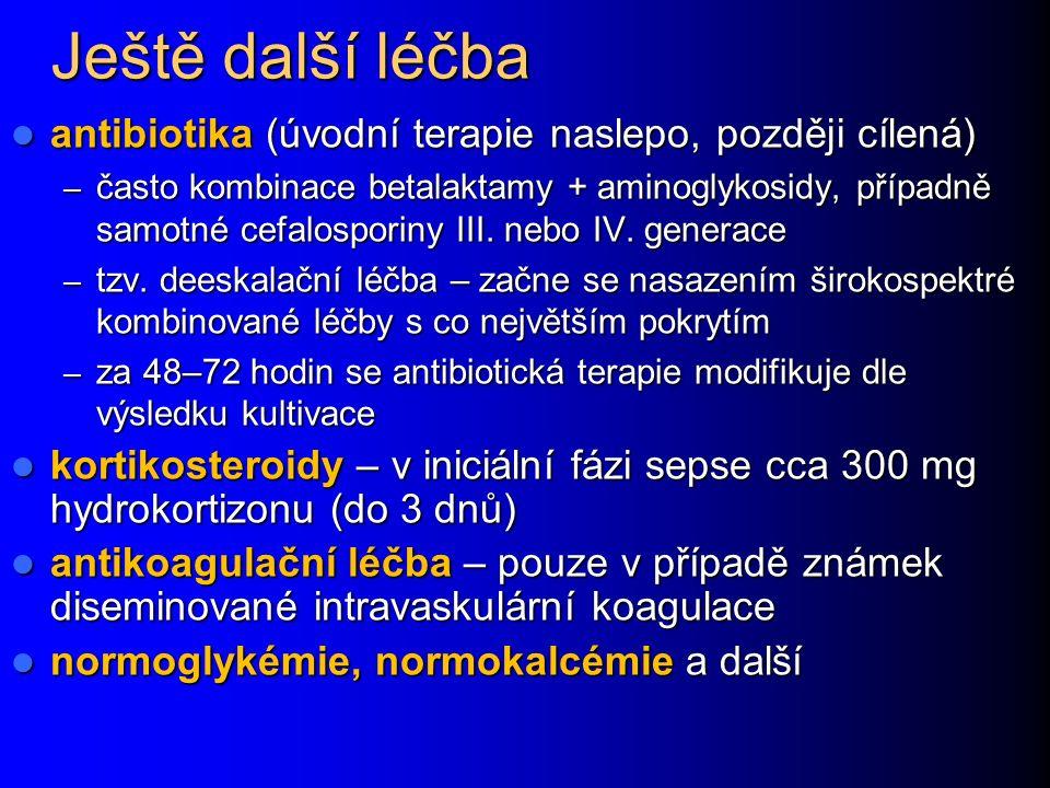 Ještě další léčba antibiotika (úvodní terapie naslepo, později cílená) antibiotika (úvodní terapie naslepo, později cílená) – často kombinace betalaktamy + aminoglykosidy, případně samotné cefalosporiny III.