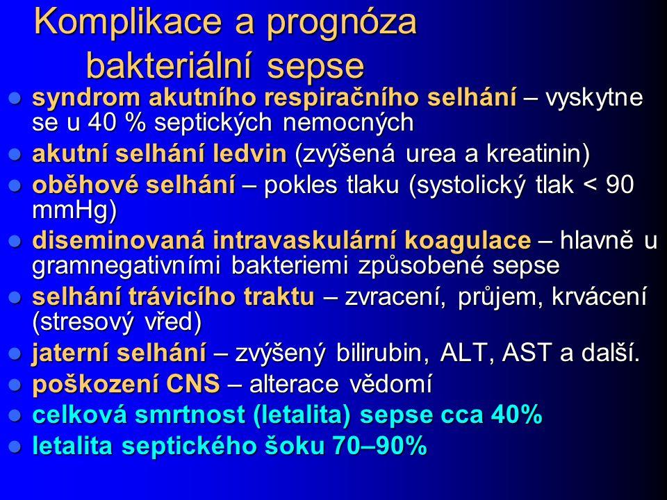 Komplikace a prognóza bakteriální sepse syndrom akutního respiračního selhání – vyskytne se u 40 % septických nemocných syndrom akutního respiračního selhání – vyskytne se u 40 % septických nemocných akutní selhání ledvin (zvýšená urea a kreatinin) akutní selhání ledvin (zvýšená urea a kreatinin) oběhové selhání – pokles tlaku (systolický tlak < 90 mmHg) oběhové selhání – pokles tlaku (systolický tlak < 90 mmHg) diseminovaná intravaskulární koagulace – hlavně u gramnegativními bakteriemi způsobené sepse diseminovaná intravaskulární koagulace – hlavně u gramnegativními bakteriemi způsobené sepse selhání trávicího traktu – zvracení, průjem, krvácení (stresový vřed) selhání trávicího traktu – zvracení, průjem, krvácení (stresový vřed) jaterní selhání – zvýšený bilirubin, ALT, AST a další.