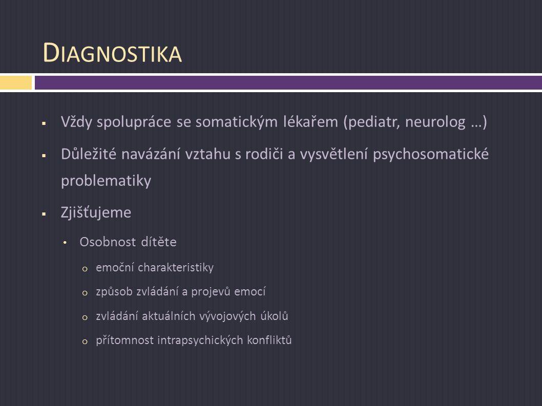 D IAGNOSTIKA  Vždy spolupráce se somatickým lékařem (pediatr, neurolog …)  Důležité navázání vztahu s rodiči a vysvětlení psychosomatické problemati