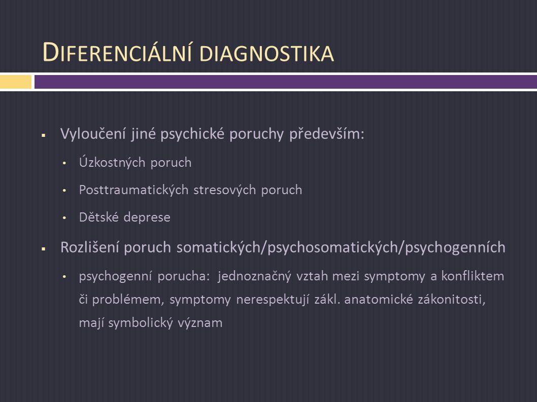 D IFERENCIÁLNÍ DIAGNOSTIKA  Vyloučení jiné psychické poruchy především: Úzkostných poruch Posttraumatických stresových poruch Dětské deprese  Rozliš