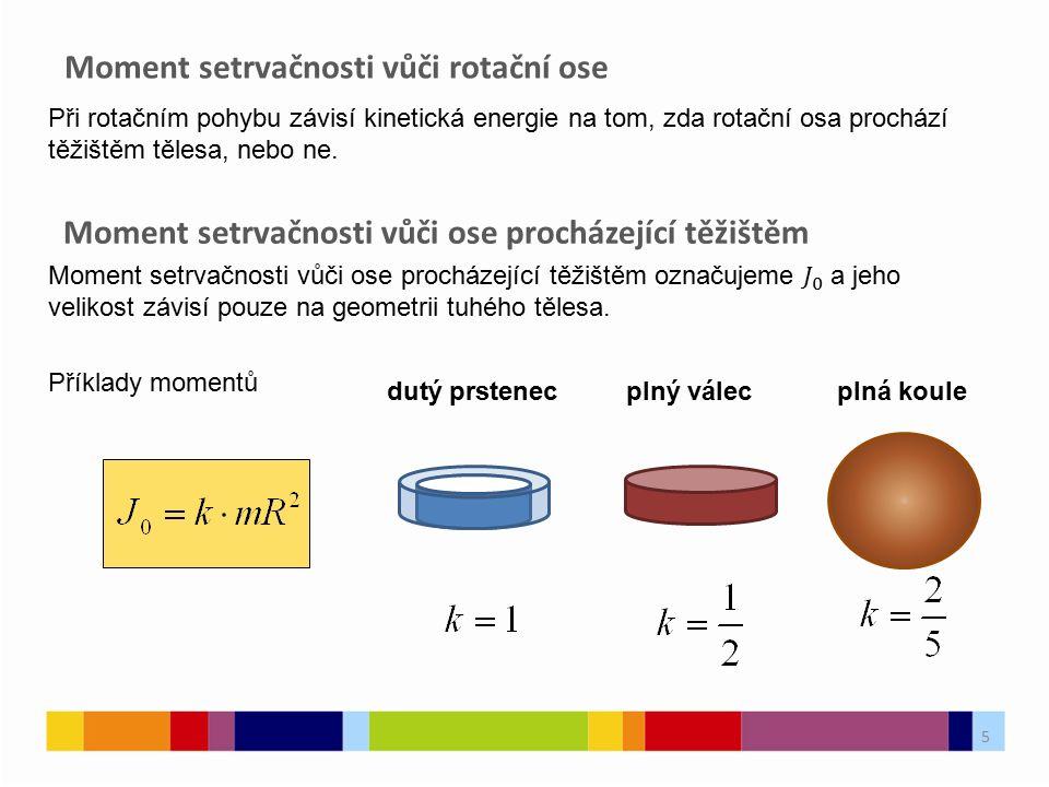 Moment setrvačnosti vůči rotační ose 5 dutý prstenecplný válecplná koule