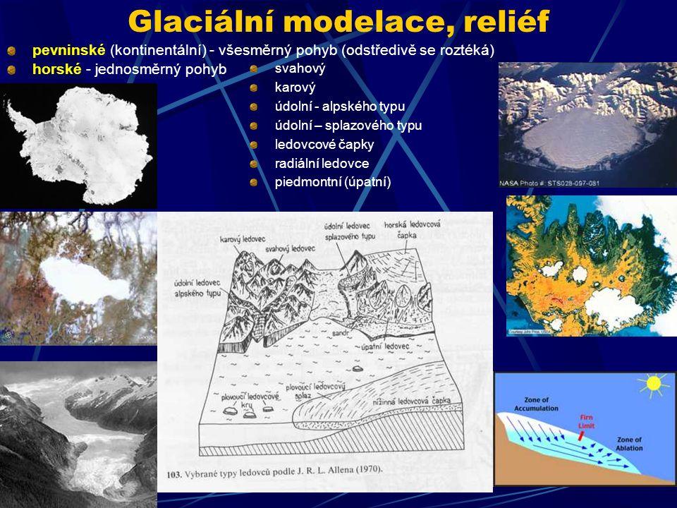 Glaciální modelace, reliéf pevninské (kontinentální) - všesměrný pohyb (odstředivě se roztéká) horské - jednosměrný pohyb svahový karový údolní - alps