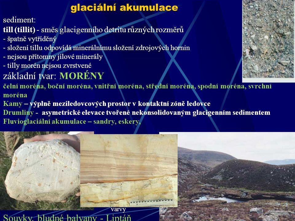 sediment: till (tillit) - směs glacigenního detritu různých rozměrů - špatně vytříděný - složení tillu odpovídá minerálnímu složení zdrojových hornin