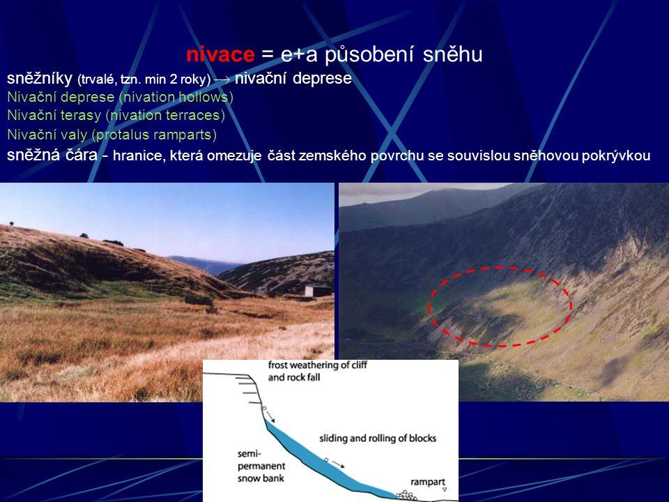 nivace = e+a působení sněhu sněžníky (trvalé, tzn. min 2 roky)  nivační deprese Nivační deprese (nivation hollows) Nivační terasy (nivation terraces)